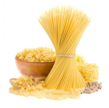 Pasta and wooden spoon on white