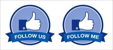 Follow us / follow me retro labels