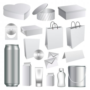 Blank packaging templates collection stock vector