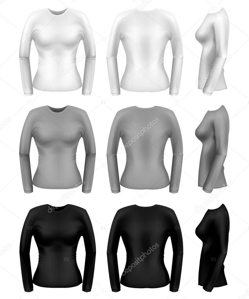 d04901ebf56f Női hosszú sleeve t-shirt sablonok minden szögből — Stock Vektor ...