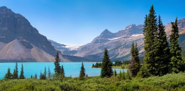 Scenic nature landscape with mountain lake in Alberta, Canada