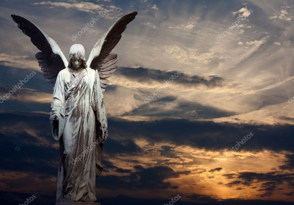Angel and sunset background
