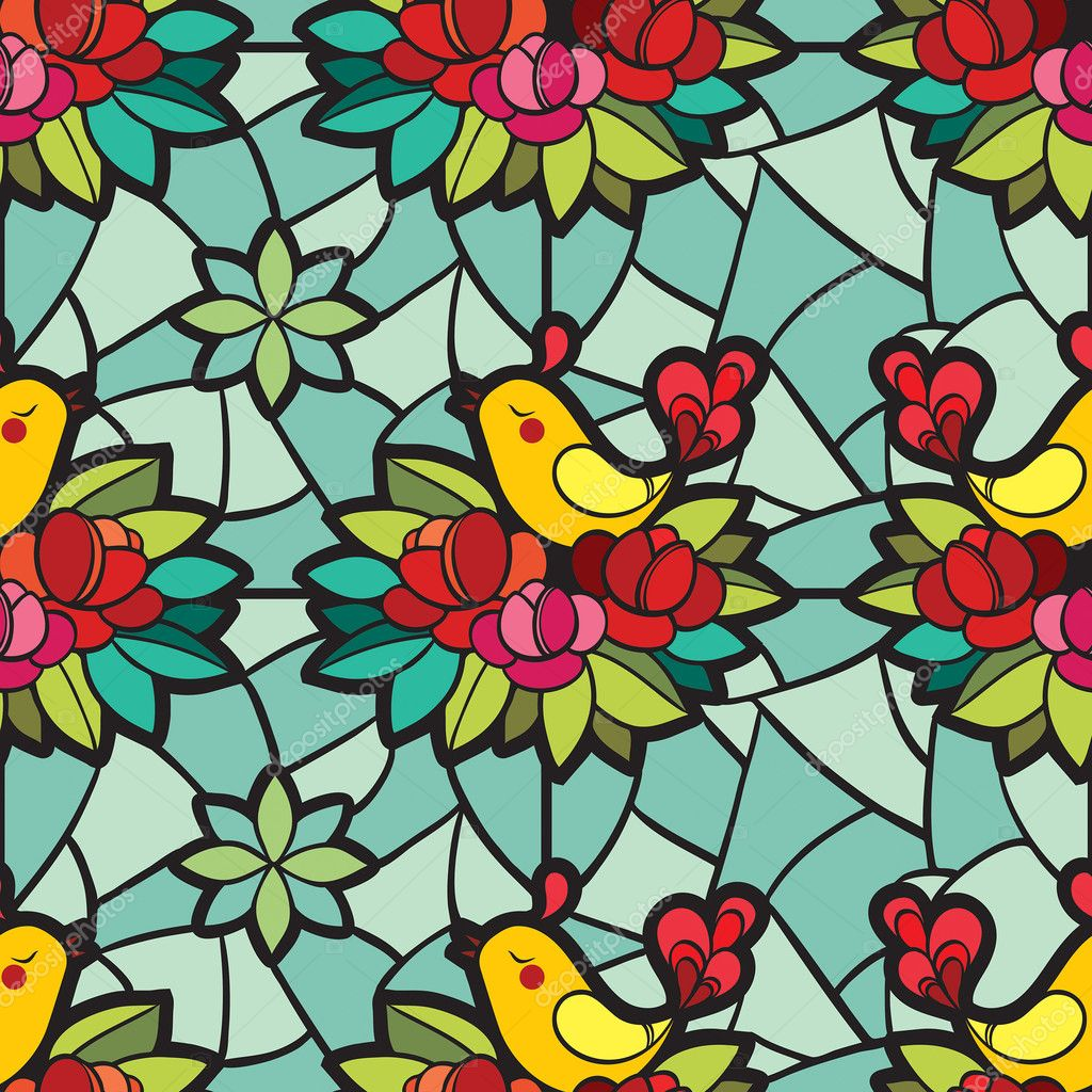 Stained-glass window with the birds and flowers pattern