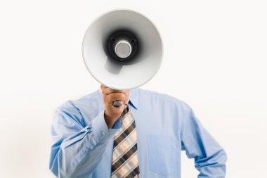 Speaking through megaphone
