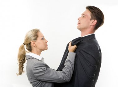Conceptual image of business lady having fight with her colleague stock vector
