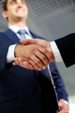 Cheerful handshaking
