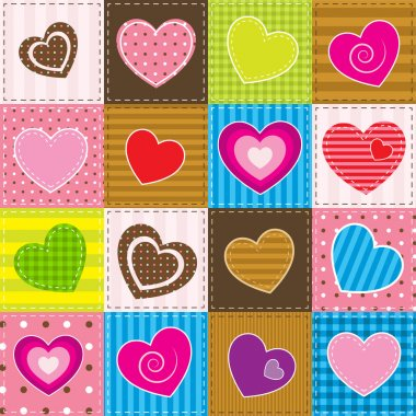 Colorful patchwork with hearts