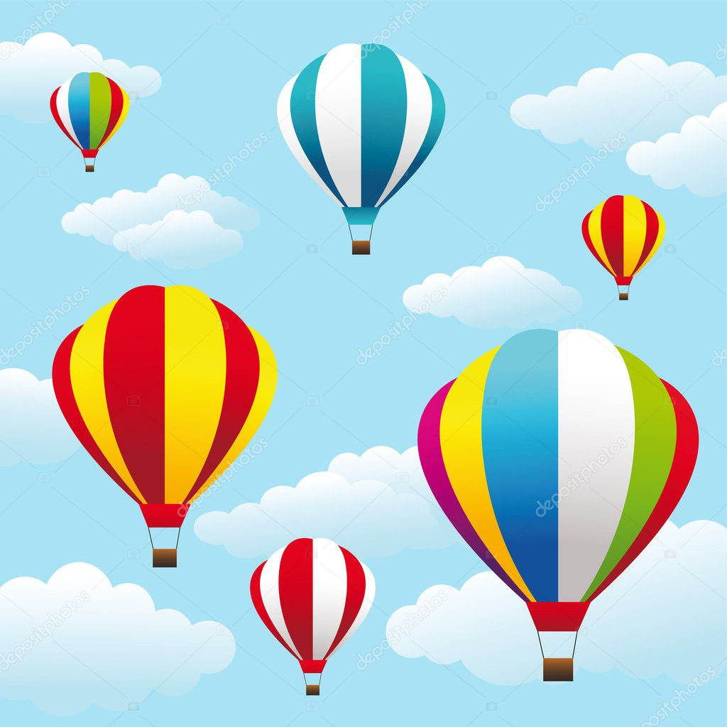 Colorful air balloons on the blue sky