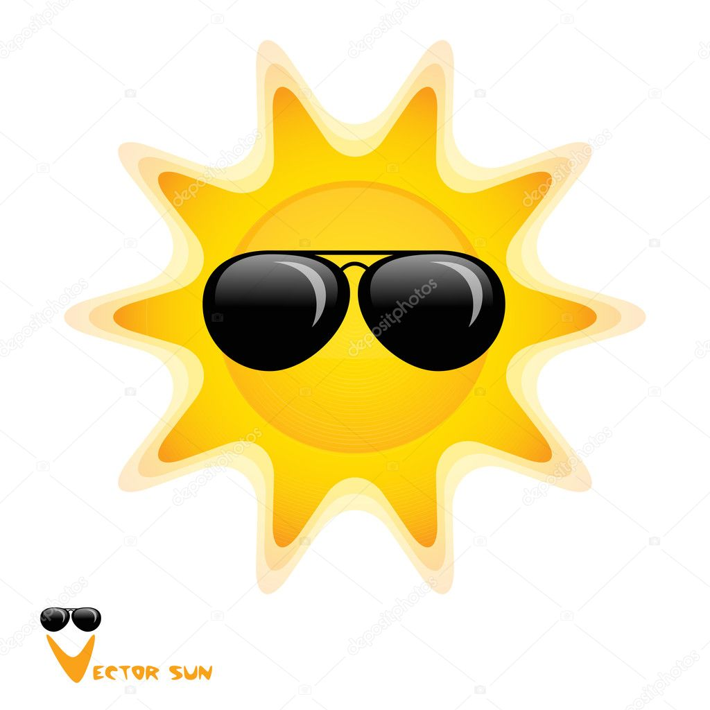 Sun with black glasses art vector illustration