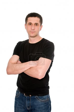 Man in black T- shirt