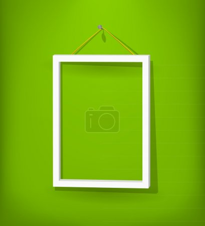 Illustration for White empty frame with glass hang on the green wall. Eps10. Used opacity layers for effects shadow and glass reflection - Royalty Free Image