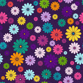 Seamless floral vivid pattern with colorful flowers and vintage curls (vector eps 10)