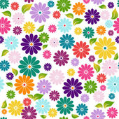 Seamless floral colorful pattern with flowers and green-yellow leaves (vector)