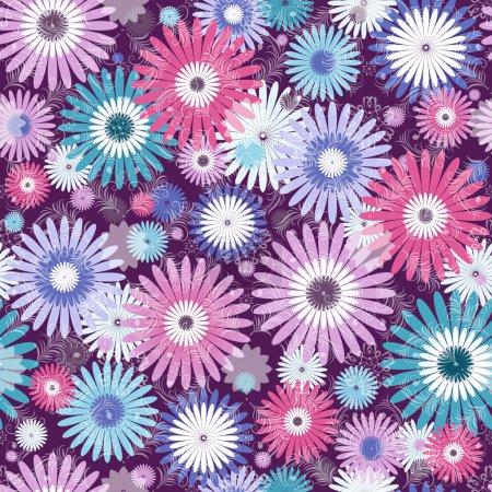 Illustration pour Sans couture violet, rose et blanc-bleu motif floral avec fleurs vives et feuilles translucides (vecteur eps 10) - image libre de droit