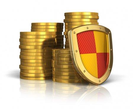 Photo pour Concept d'assurance financière et de stabilité des entreprises : piles de pièces d'or couvertes par un bouclier de protection isolé sur fond blanc avec effet de réflexion - image libre de droit