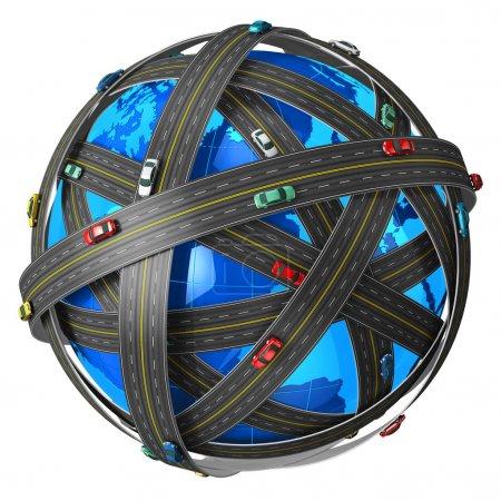 Photo pour Concept de voyage, de transport et de navigation GPS : globe terrestre bleu recouvert de routes sans fin avec des voitures de couleur isolées sur fond blanc - image libre de droit