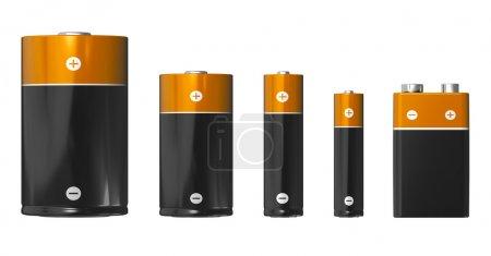 Photo pour Ensemble de piles de différentes tailles (de gauche à droite) : D, C, AA, AAA et PP3 (9V) isolées sur fond blanc - image libre de droit