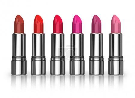 Set of red lipsticks