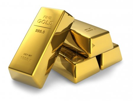 Photo pour Ensemble de barres d'or isolées sur fond blanc - image libre de droit
