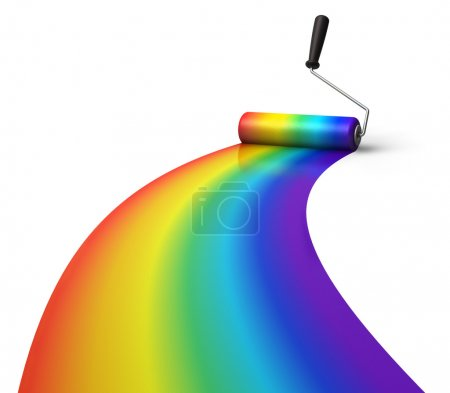 Photo for Creativity concept: rainbow coloring with roller brush isolated on white background - Royalty Free Image