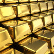 Macro view of the rows of gold bars...