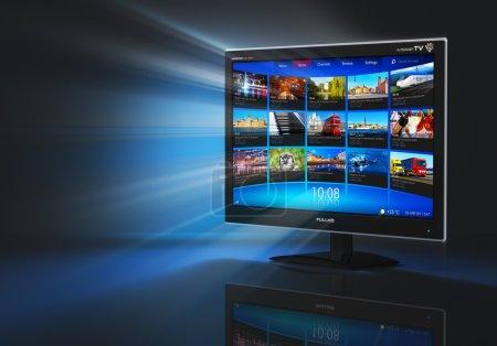 Photo pour Internet et concept de télécommunication : écran de télévision haute définition grand écran noir brillant avec galerie vidéo en streaming - image libre de droit