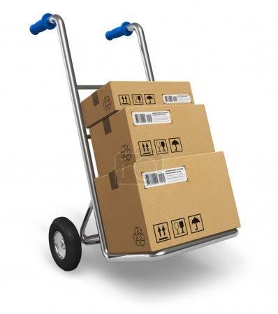 Photo pour Camion à main en métal avec boîtes d'emballage en carton isolé sur fond blanc - image libre de droit