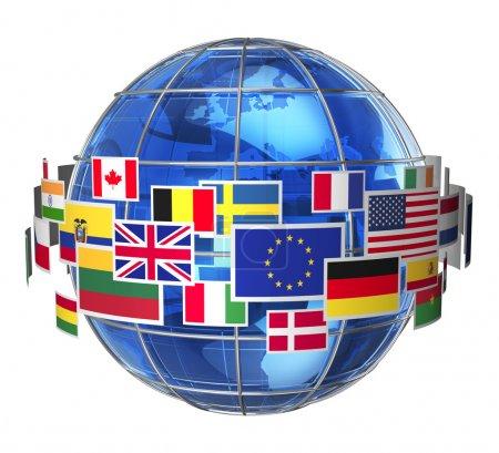 Photo pour Concept de communication internationale dans le monde entier : nuage de drapeaux d'état coloré Globe verre bleu terre isolé sur fond blanc - image libre de droit