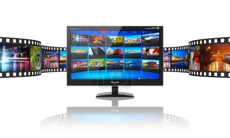 Photo for Media telecommunications and streaming video concept: widescreen TV display with streaming video gallery and filmstrip with color pictures isolated on white reflective background - Royalty Free Image