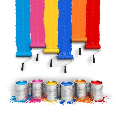 Photo for Creativity concept: set of color roller brushes with trails of paint on the wall and metal cans with oil paint isolated on white background - Royalty Free Image