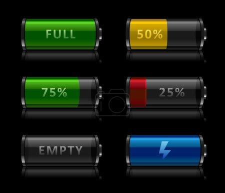 Illustration pour Ensemble d'icônes de niveau de batterie brillantes noires sur fond noir - image libre de droit