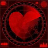 Radar screen with red heart