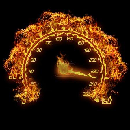 Photo pour Gravure illustration de flamme pour le feu indicateur de vitesse sur le fond noir - image libre de droit