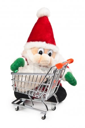 Santa Claus and shopping cart isolated
