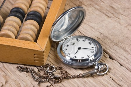 Pocket watch and abacus