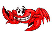Smiling red sea crab with claws Vector illustration