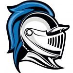 Medieval knight head in helmet. Vector illustratio...