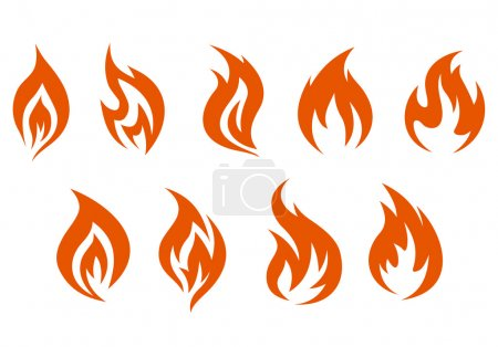 Illustration for Fire symbols isolated on white background. Vector illustration - Royalty Free Image