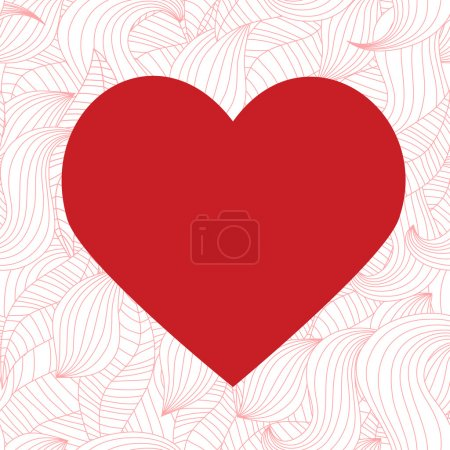 Illustration for Red heart on a seamless background - Royalty Free Image