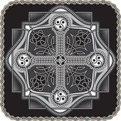 The button in celtic style with a traditional cross in a vector