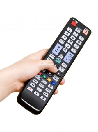 Photo pour Main avec télécommande isolée sur blanc - image libre de droit