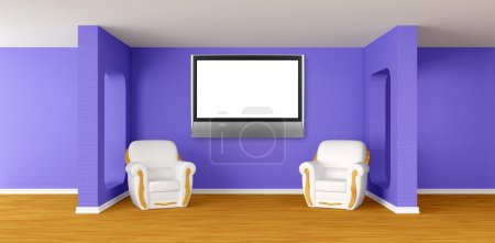 Photo pour Modern room with luxurious armchairs and lcd tv - image libre de droit