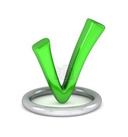 Photo pour Signe de coche verte 3D - image libre de droit