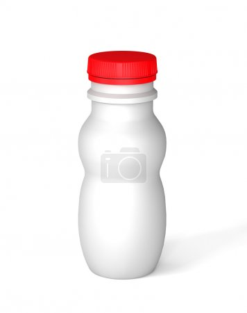 White bottle with red cap for a yogurt