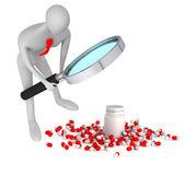 3D člověk dívat na 3d lékařských pilulky s lahví