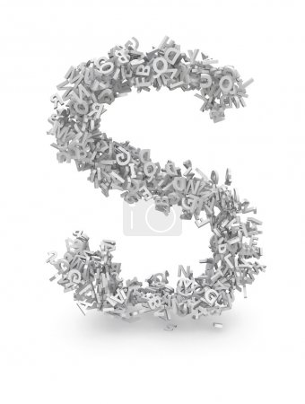 Shape of letter S made from 3d letters