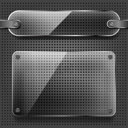 Illustration pour Plaques de verre transparent sur le fond métallique - image libre de droit