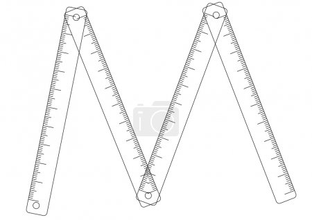 Folding ruler on white background
