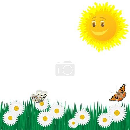 Photo pour Le soleil, les papillons et les fleurs sauvages. L'illustration sur fond blanc . - image libre de droit