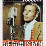 Stamp printed in Afganistan shows Frank Sinatra in...